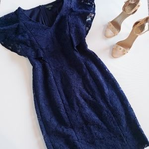 LAUREN RALPH LAUREN Yamla Navy Lace Dress Size 8